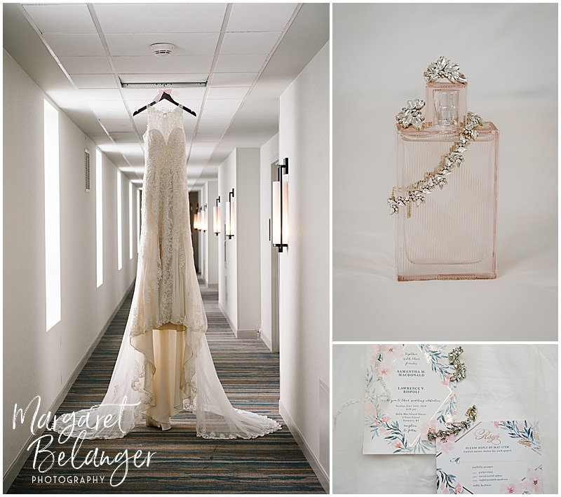 Newport wedding details - dress, perfume, jewelry, and invitation suite