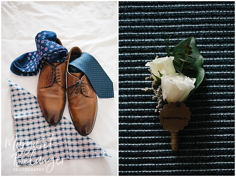 Newport groom details - shoes, tie, socks, pocket square, boutonniere