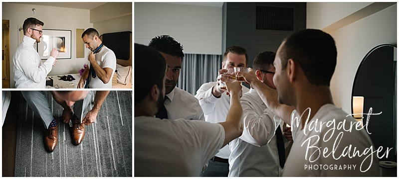 Newport wedding, groom getting ready