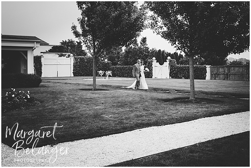 Belle Mer Newport wedding ceremony, bride walking with her father
