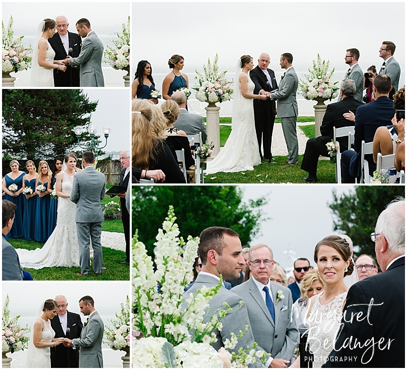 Belle Mer Newport wedding ceremony, ring exchange
