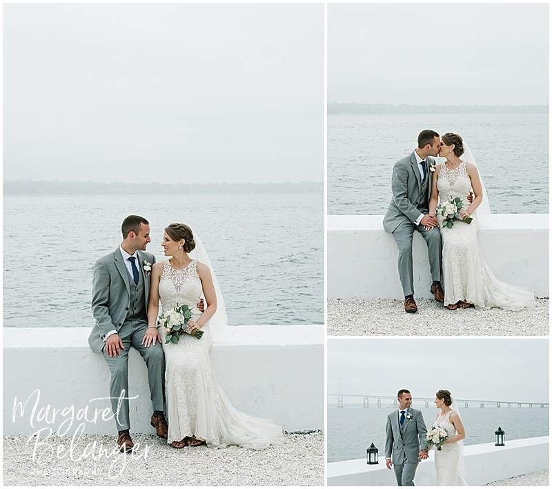 Belle Mer Newport wedding, bride and groom portraits