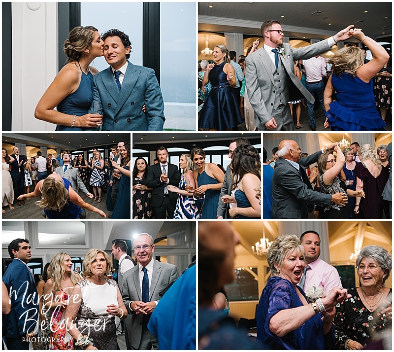 Belle Mer Newport wedding reception, guests dancing