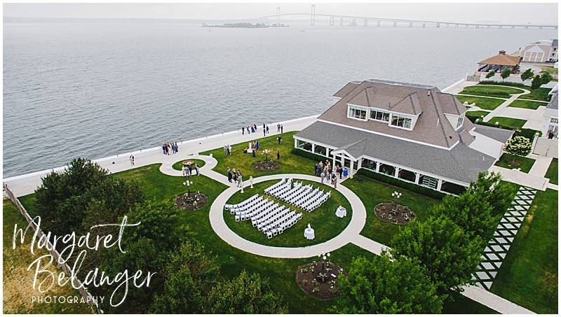 Belle Mer Newport wedding cocktail hour, drone shot