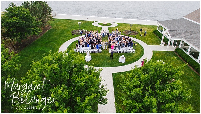 Belle Mer Newport wedding ceremony, drone shot