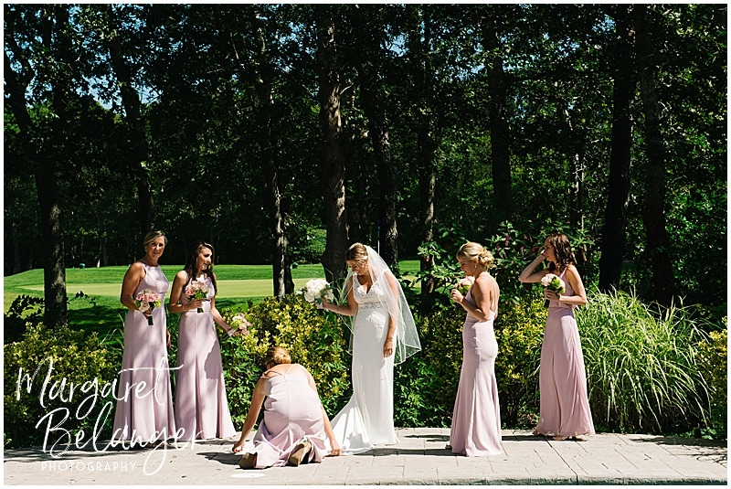 New Seabury Country Club wedding, bride getting ready with bridesmaids outside