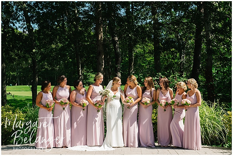 New Seabury Country Club wedding, outdoor portrait of bride and bridesmaids