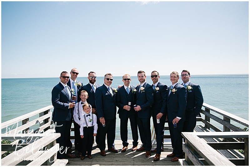 New Seabury Country Club wedding, outdoor portrait of groom and groomsmen
