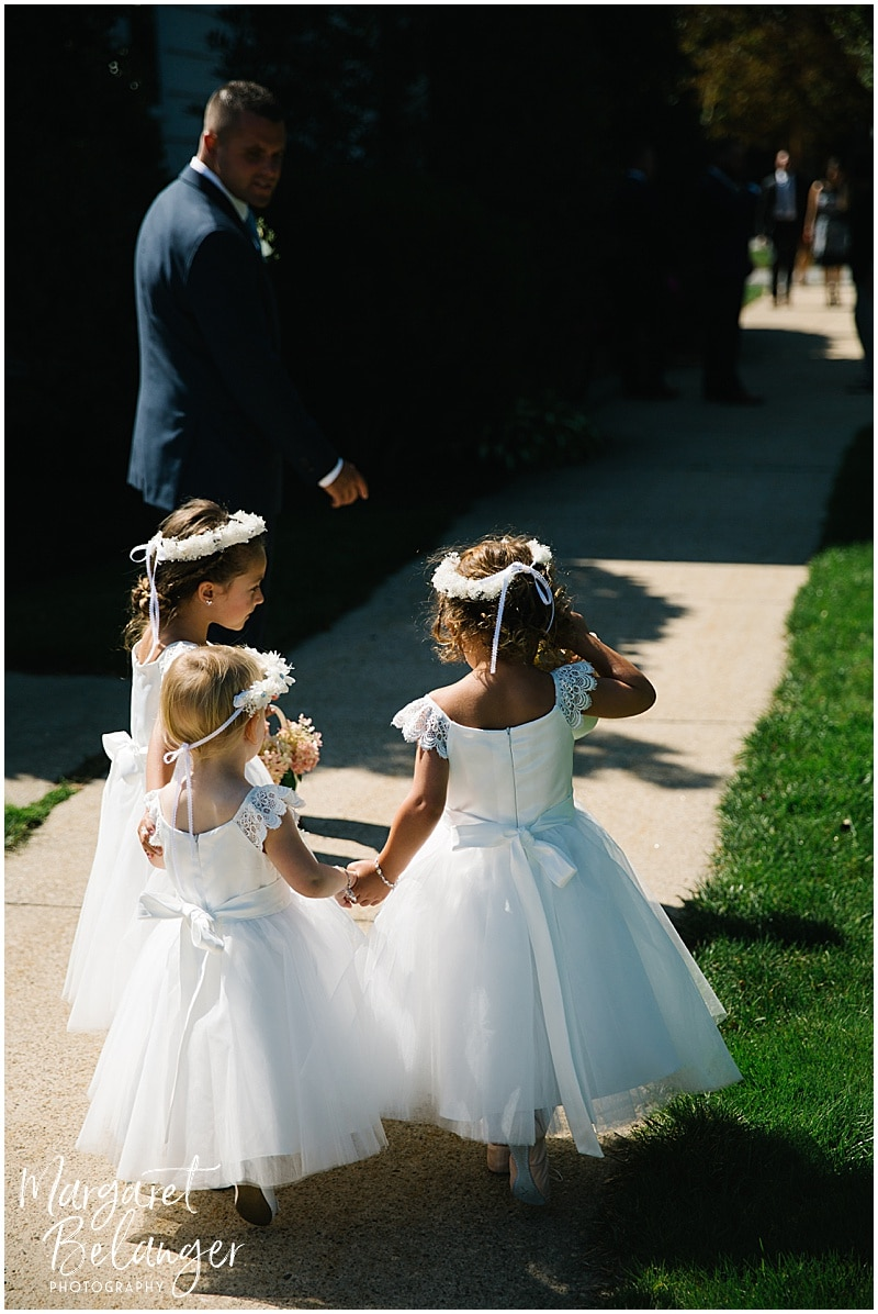 New Seabury Country Club wedding, flower girls outside the church before the ceremony