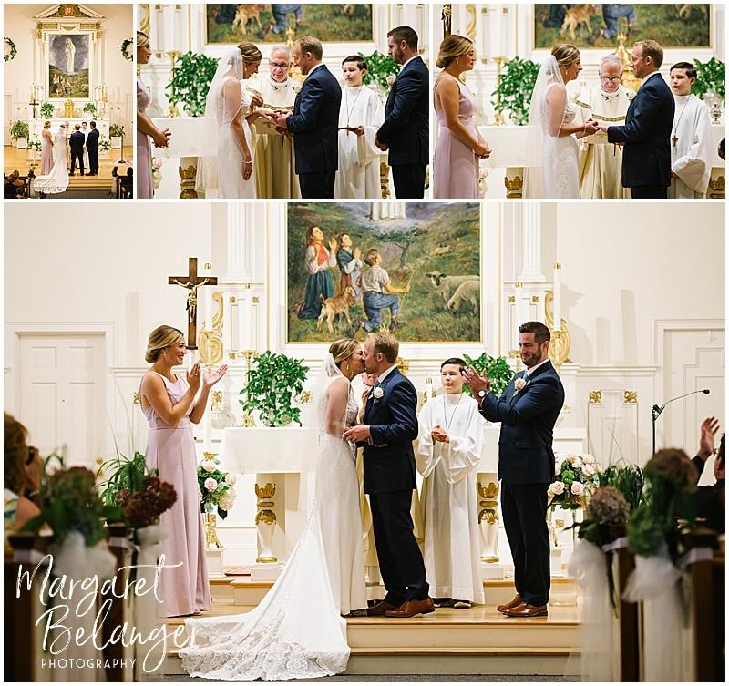 New Seabury Country Club wedding, church wedding ceremony and first kiss