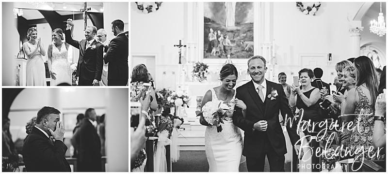 New Seabury Country Club wedding, bride and groom walk down the aisle