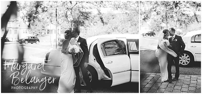 New Seabury Country Club wedding, bride and groom kiss outside the limo