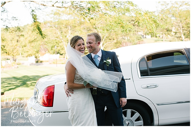 New Seabury Country Club wedding, bride and groom portrait outside the limo