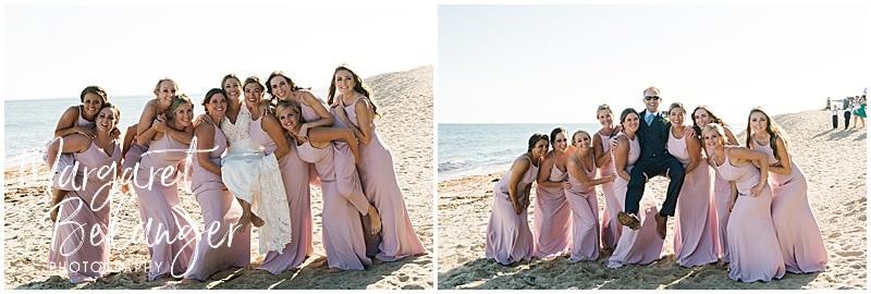 New Seabury Country Club wedding, bridesmaids portrait on the beach