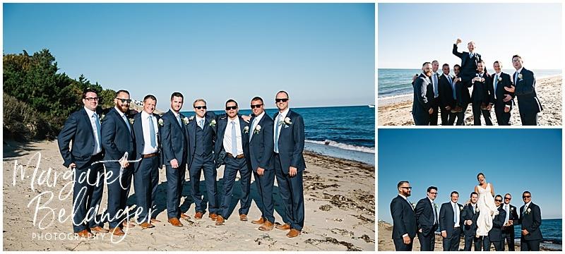 New Seabury Country Club wedding, groomsmen portrait on the beach