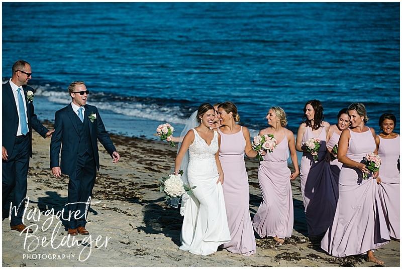 New Seabury Country Club wedding, wedding party on the beach