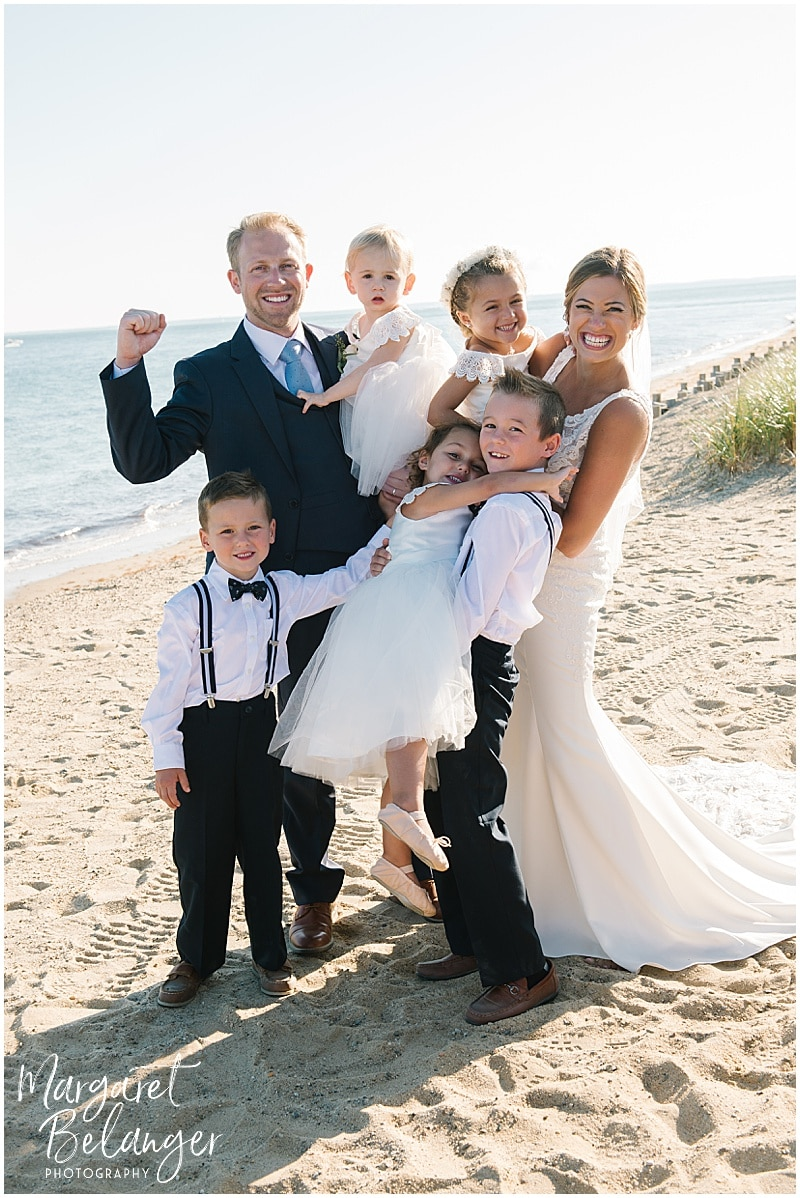 New Seabury Country Club wedding, portrait of bride and groom and flower girls and ring bearers on the beach