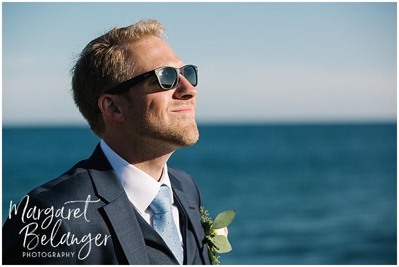 New Seabury Country Club wedding, portrait of groom on the beach