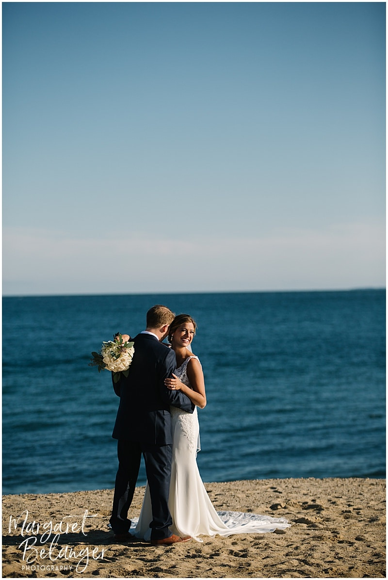 New Seabury Country Club wedding, portrait of bride and groom on the beach