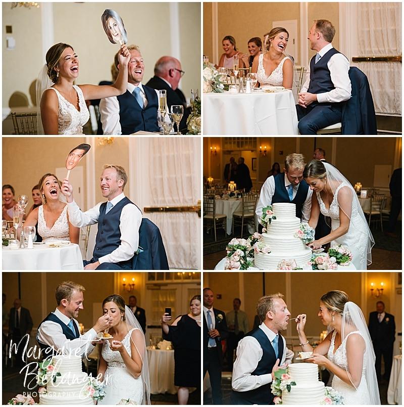 New Seabury Country Club wedding, wedding reception toasts and cake cutting