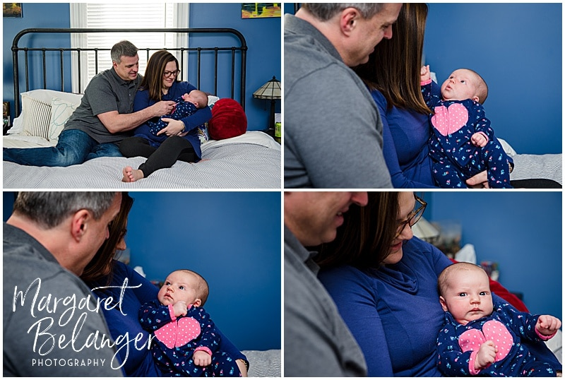 South Shore newborn session, baby girl with parents on bed