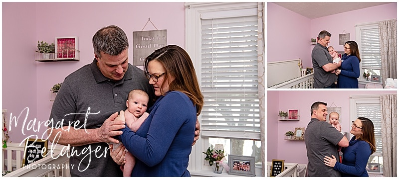 South Shore newborn session, baby with parents in pink nursery
