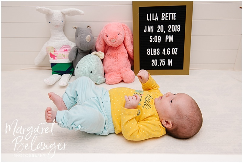 South Shore newborn session, baby girl in crib with her stuffed animals