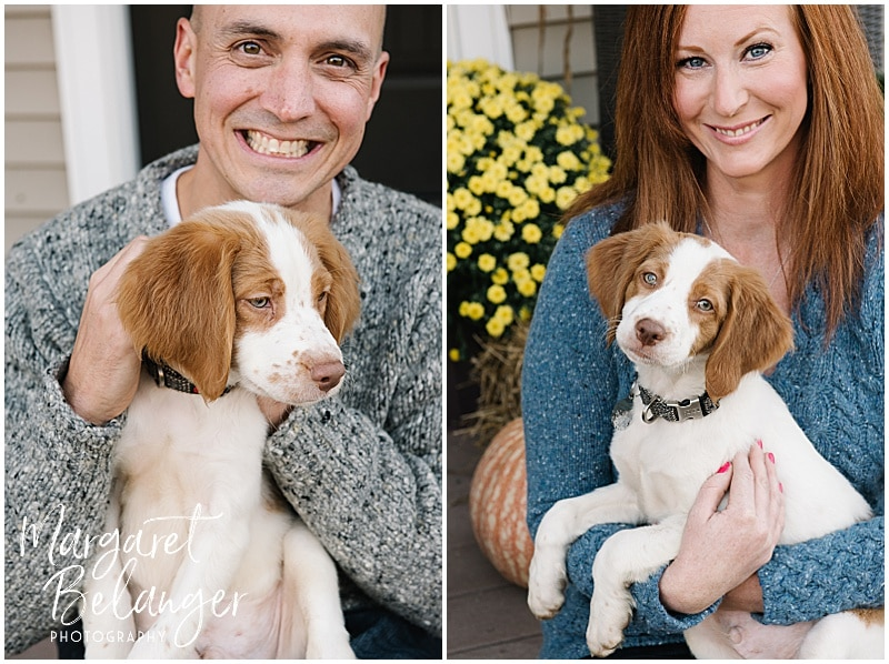Central MA family session, mom and dad with puppies