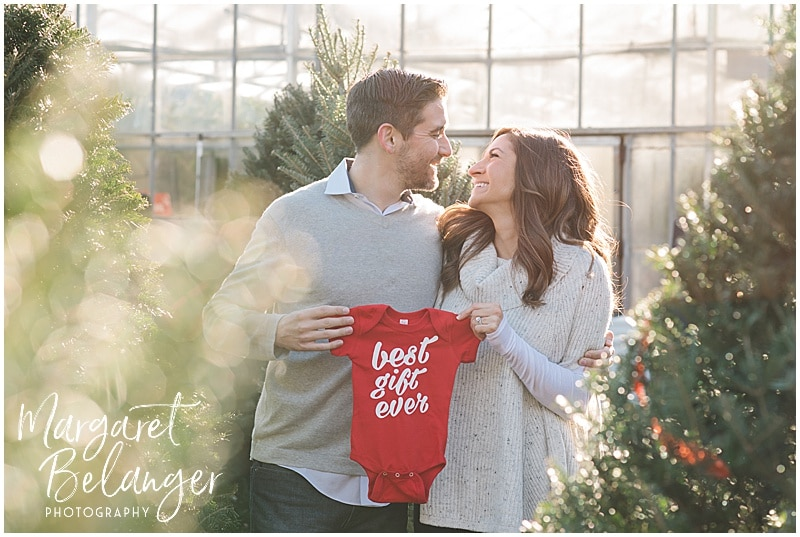 Mahoney's Winchester pregnancy announcement, portraits among the Christmas trees