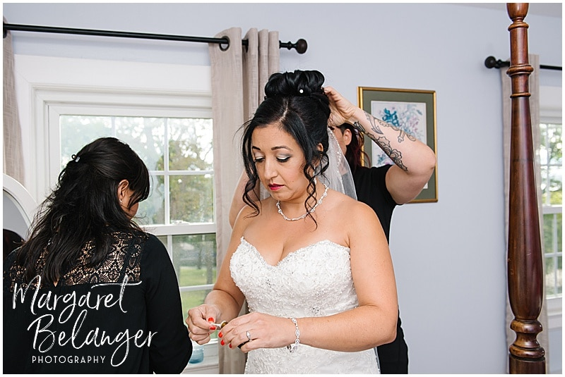 Thompson Island Boston Harbor same sex wedding, bride getting ready