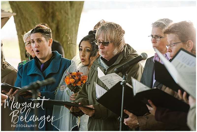 Thompson Island Boston Harbor same sex wedding, wedding ceremony, chorus singing