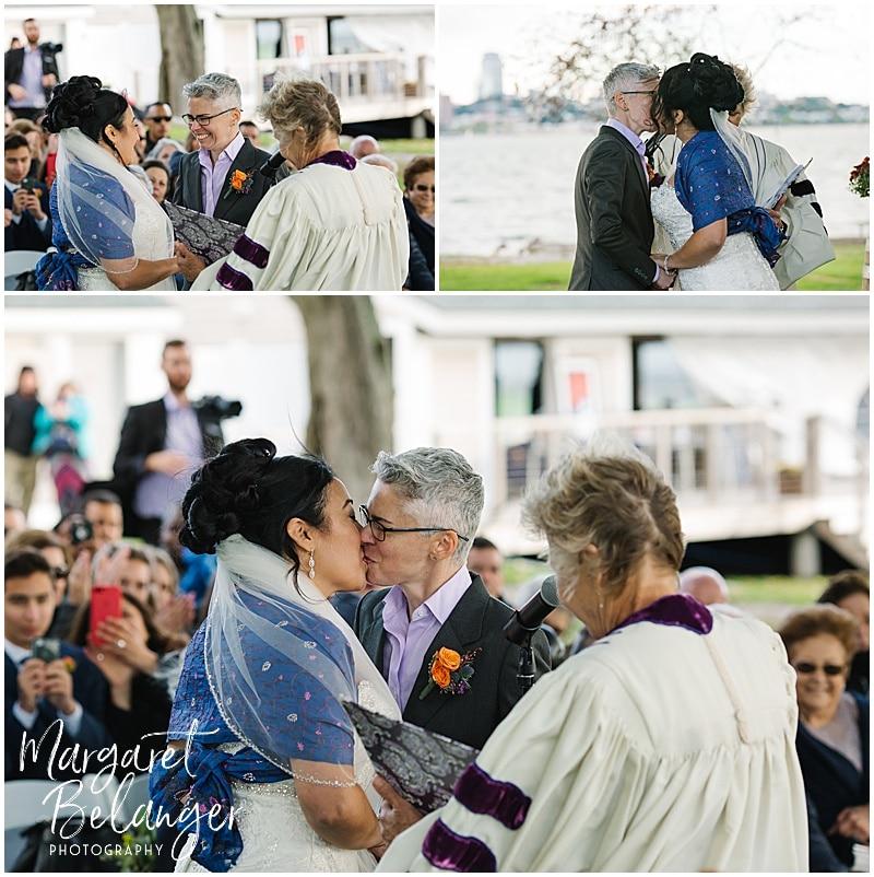 Thompson Island Boston Harbor same sex wedding, wedding ceremony, first kiss