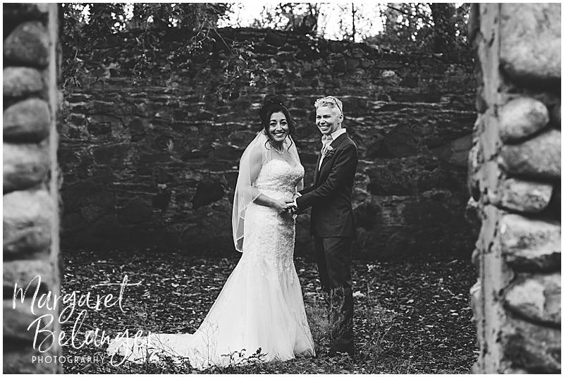 Thompson Island Boston Harbor same sex wedding, portrait of brides in root cellar