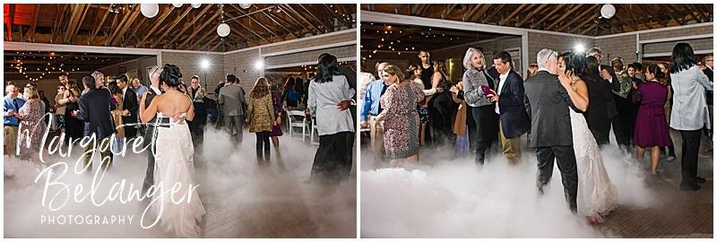 Thompson Island Boston Harbor same sex wedding, wedding reception, first dance in smoke