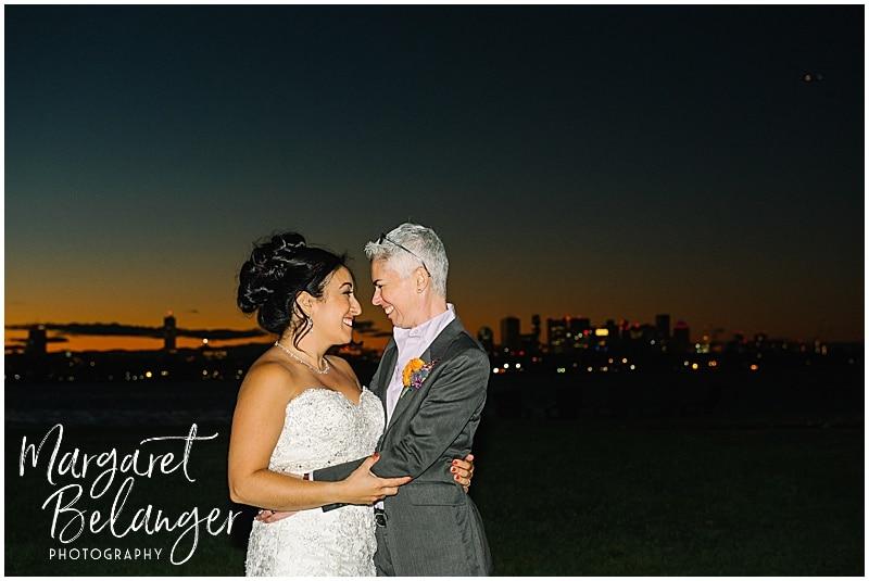 Thompson Island Boston Harbor same sex wedding, wedding reception, sunset portrait of brides