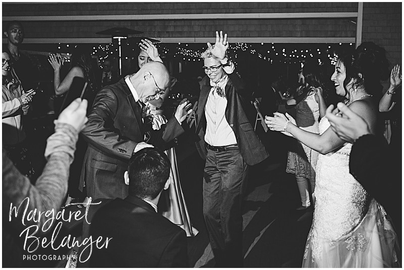Thompson Island Boston Harbor same sex wedding, wedding reception, guests dancing