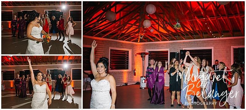 Thompson Island Boston Harbor same sex wedding, wedding reception, bouquet toss