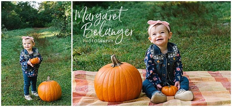 Wright-Locke Farm family session, baby with pumpkin