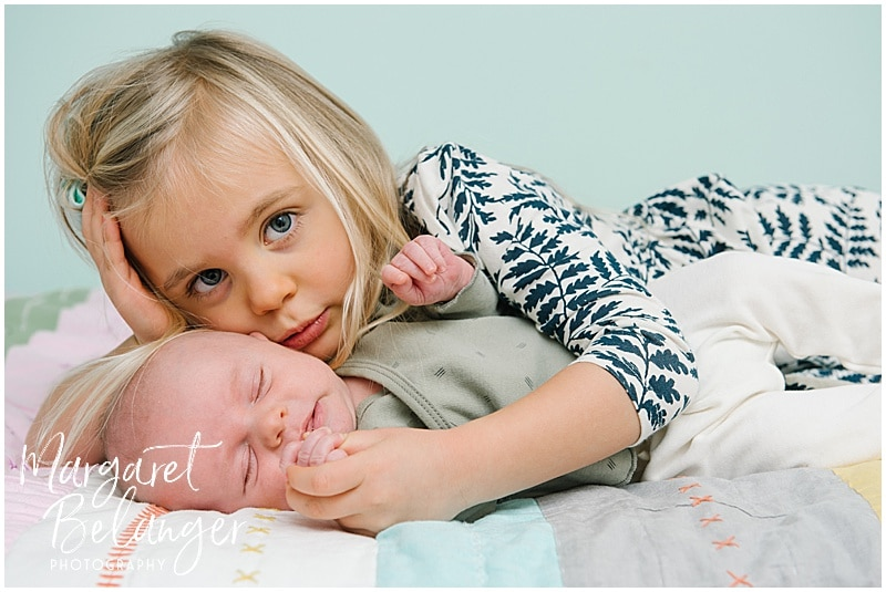 Charlestown newborn session, sister and baby brother