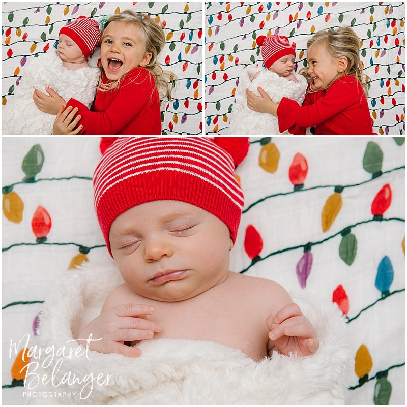 Charlestown newborn session, sister and baby brother, holiday photos