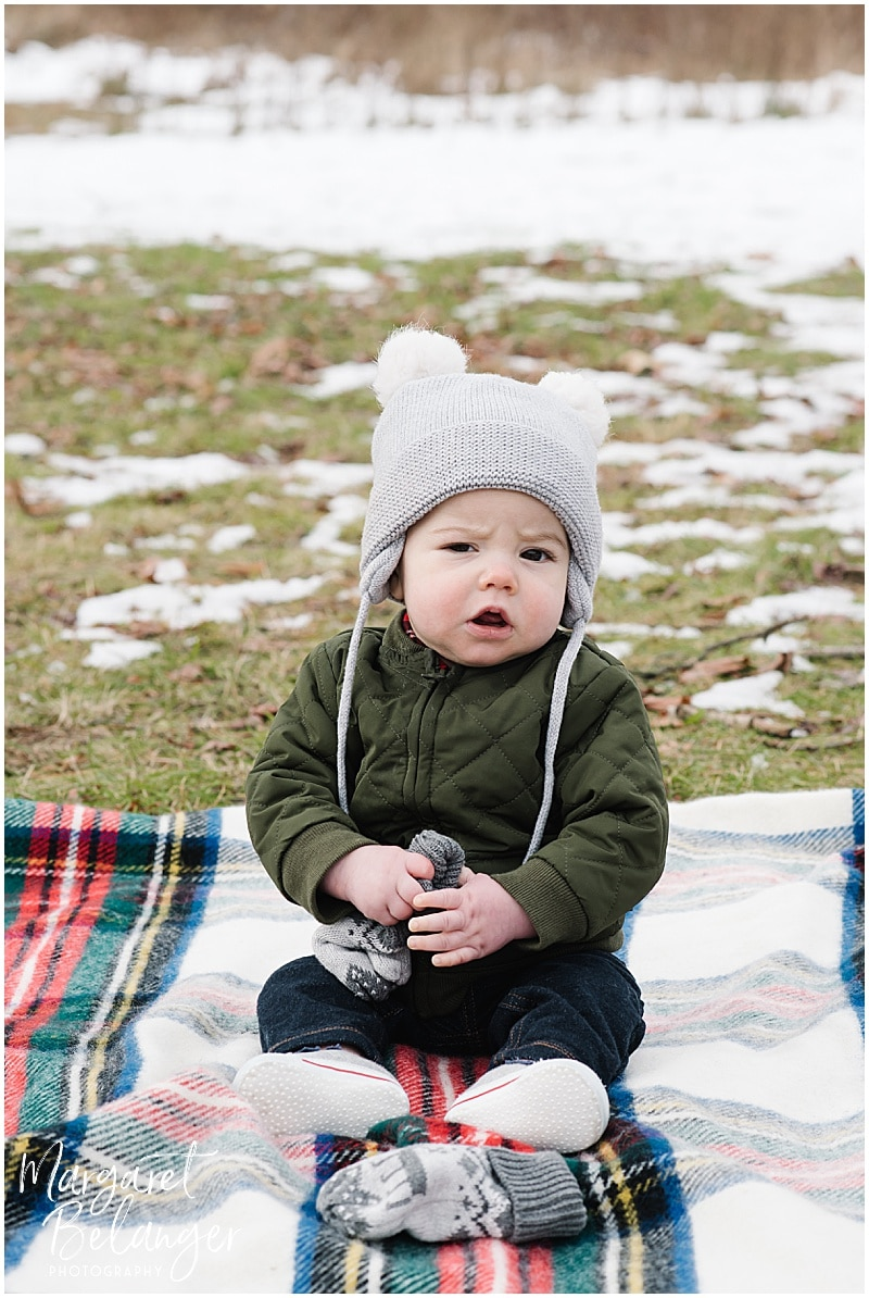 Minute Man National Park Lexington family session, baby on plaid blanket