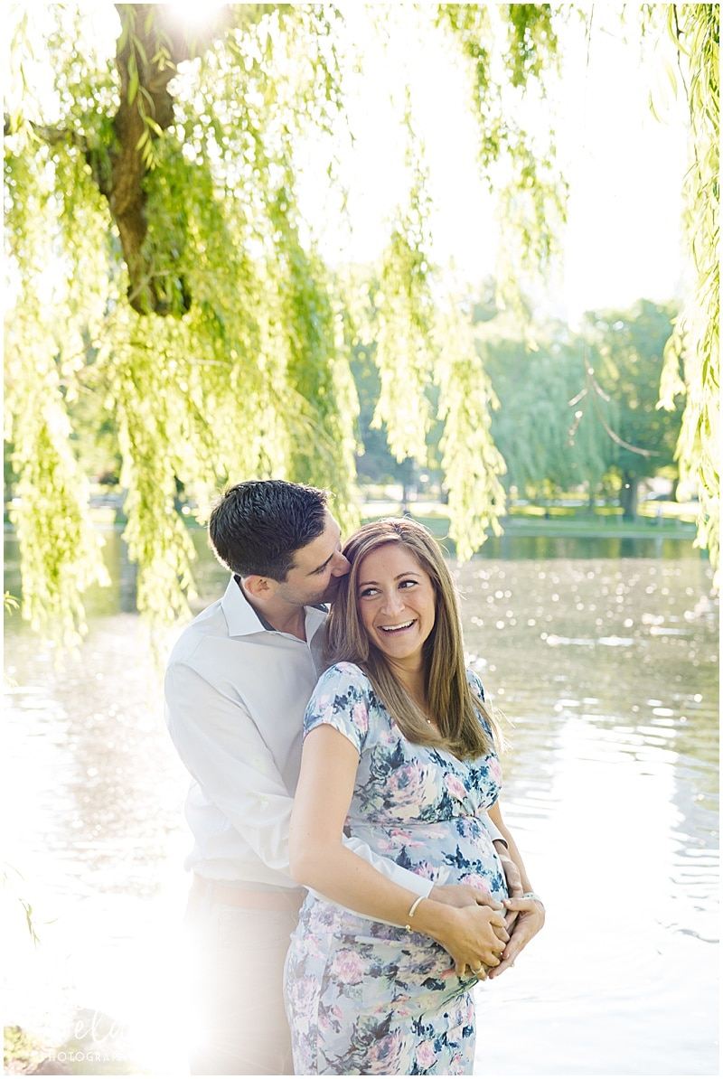 Sunrise Maternity session in the Boston Public Gardens, mom and dad under the weeping willow