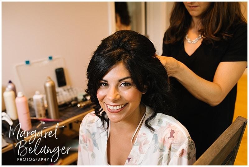 Wychmere Beach Club Cape Cod Wedding, bride getting her hair done
