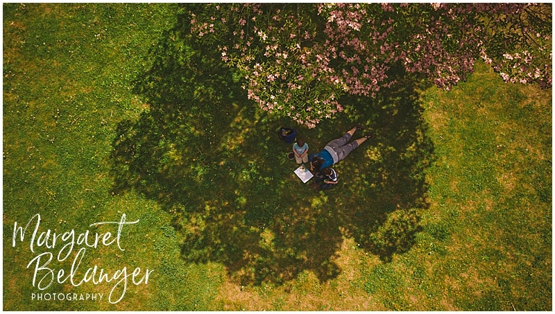 Cushing Memorial Park Framingham drone portrait of a mom reading to her two boys
